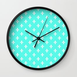 Fleur-de-Lis (White & Turquoise Pattern) Wall Clock
