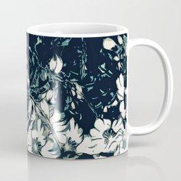Green, Black, and White Abstract Floral Print Coffee Mug
