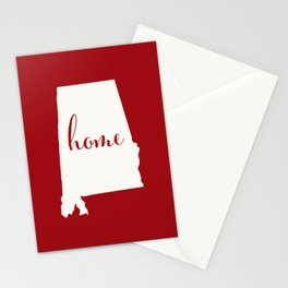 Alabama is Home - White on Red Stationery Cards