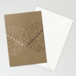 Monstera Palm Leaves in Line work | sketch in black, white colors and brown color Stationery Cards