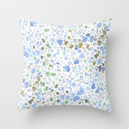 Magic Terrazzo Blue Throw Pillow