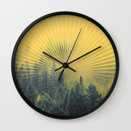 Golden Rays Forest #society6 Wall Clock