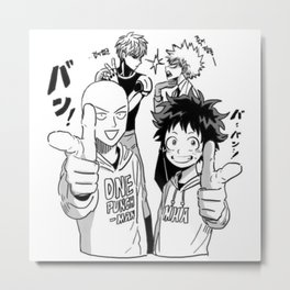 One Punch Man Vs Boku no Hero Academia Metal Print