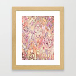 Glowing Coral and Amethyst Art Deco Pattern Framed Art Print