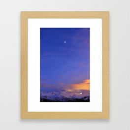 Star Sirius over the mountains at sunset. Constelation Canis Mayor Framed Art Print