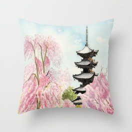 Japanese Temple Watercolor Painting print by Suisai Genki , To-ji, Kyoto , Sakura , Cherry blossom Throw Pillow