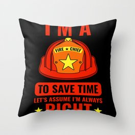 Fire Chief Save Time Emergency Hose Throw Pillow