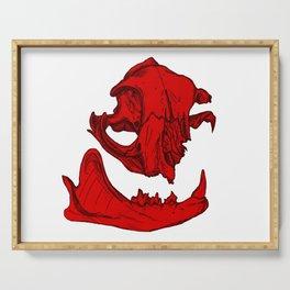 Cat Skull 2 (bright red) Serving Tray