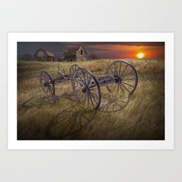 Farm Wagon Chassis in a Grassy Field on a Mid West Farm at Sunset Art Print