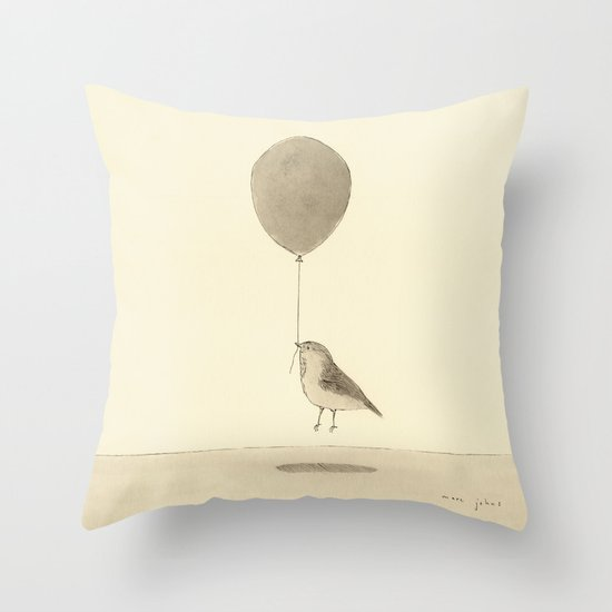 bird with a balloon Throw Pillow