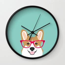 Teagan Glasses Corgi cute puppy welsh corgi gifts for dog lovers and pet owners love corgi puppies Wall Clock