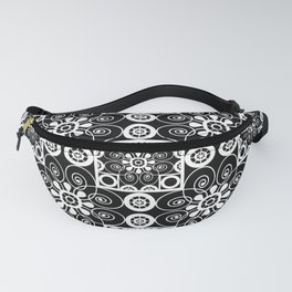 Retro .Vintage . Black and white openwork ornament . Fanny Pack