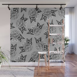 Cabbage Roses in Grey Wall Mural
