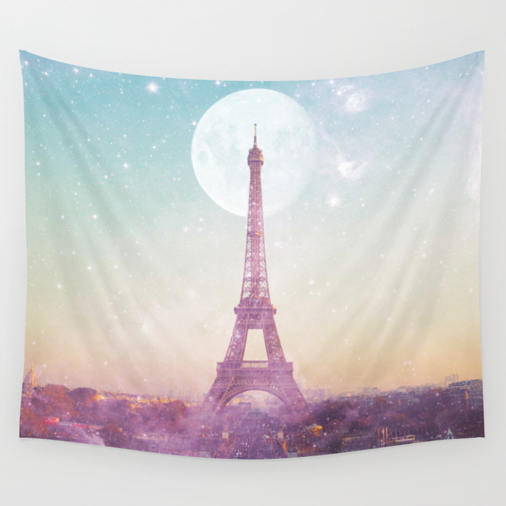 I Love Pink Paris Eiffel Tower - Full Moon Univers… Wall Tapestry by Deificusart TPS6926601