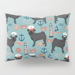 Pug nautical sailing pattern dog breed pet portrait pet friendly dog art Pillow Sham