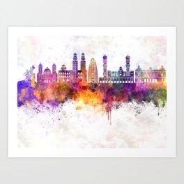 Dakar skyline in watercolor background Art Print