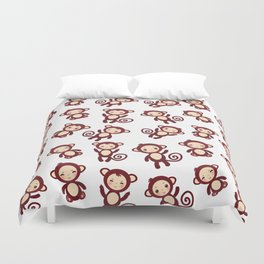 pattern with funny brown monkey boys and girls on white background. Vector illustration Duvet Cover