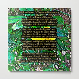 Yellow Flower Of Expanded Frequency Poem Metal Print