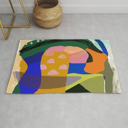 Shapes and Layers no.20 - Abstract painting olive green blue orange black Rug