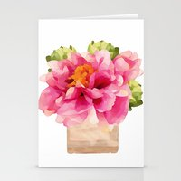 peonies Stationery Cards featuring Peonies  by Xchange Art Studio