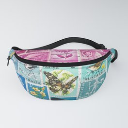 Midnight Sea Postage Stamp Collage Fanny Pack