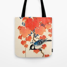 Vintage Japanese Bird and Autumn Grapevine Tote Bag