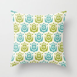 Retro Flower Pattern Chartreuse Turquoise Throw Pillow