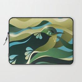 Humming Bird In Green Colors/ Bird Illustration/ Teal Sky Laptop Sleeve
