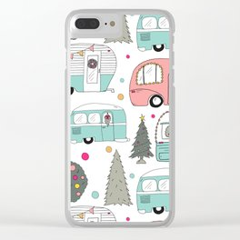 Retro Christmas Campers Clear iPhone Case