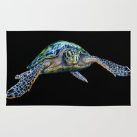 sea turtle Area & Throw Rugs featuring Sea Turtle by Tim Jeffs Art
