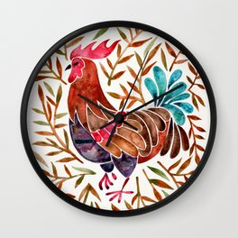 Le Coq – Watercolor Rooster with Sepia Leaves Wall Clock