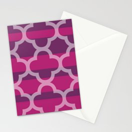Plum Raspberry Quatrefoil Stationery Cards