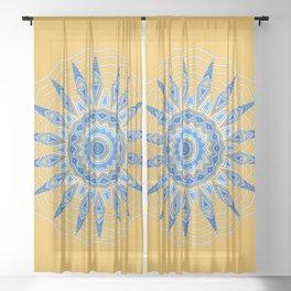 Gold Blue Aztec Mandala Design Sheer Curtain