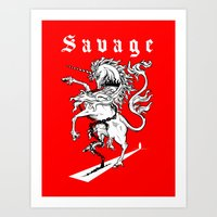 Savage-Unicorn Art Print