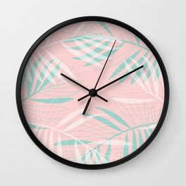 Palm Leaves Lace on blush Wall Clock