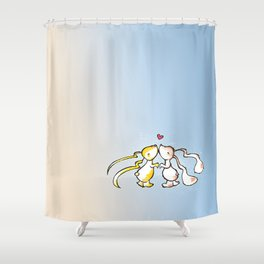 Kissing Bunnies Shower Curtain