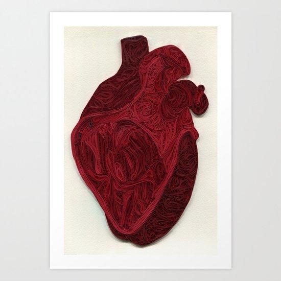 paper filigree human heart Art Print