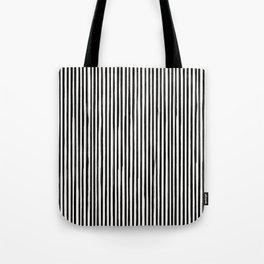 Skinny Stroke Vertical Black on Off White Tote Bag