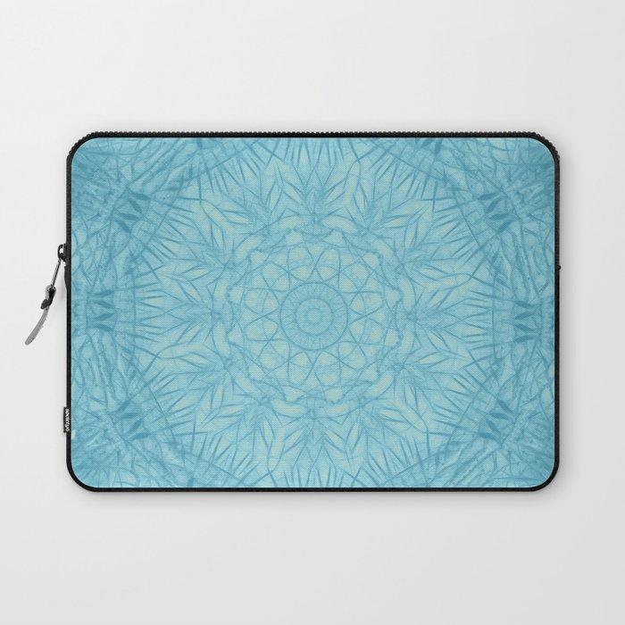 Abstract blue thistle mandala Laptop Sleeve
