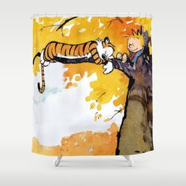 Calvin and Hobbes on the Tree huge Shower Curtain