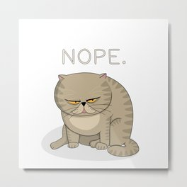 Frowned Cat - NOPE Metal Print