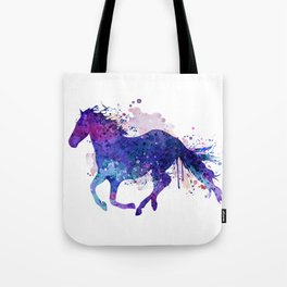 Running Horse Watercolor Silhouette Tote Bag