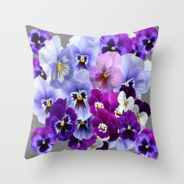 VARIEGATED PURPLE PANSY FLOWERS ART Throw Pillow