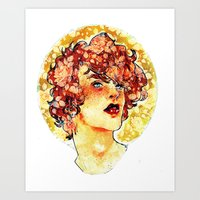 enjolras Art Prints featuring enjolras watercolour by chazstity