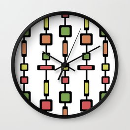 Mid Century Squares Art Wall Clock