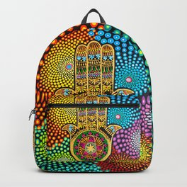 Hamsa Hand, hand of fatima, mandala, yoga art, mandala art, meditation art Backpack