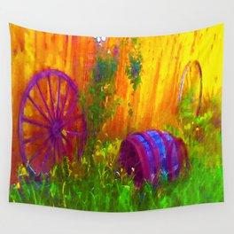 Sunshine Wagon Wheels Wall Tapestry