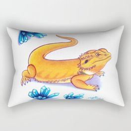 Bearded Dragon - Blue Crystals Rectangular Pillow
