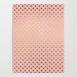 Gold and pink sparkling and shiny Hearts pattern Poster
