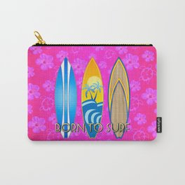 Born To Surf Pink Tropical Flowers Carry-All Pouch
